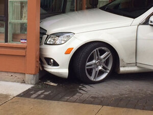 Car hits building after driver steps on gas instead of brake