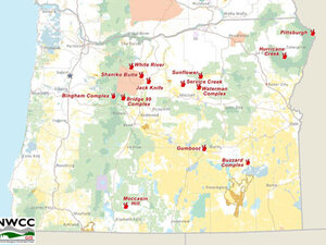 Interactive Map: Large Oregon wildfires
