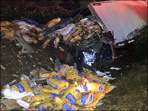I-5 semi truck crash dumps thousands of pounds of dog food