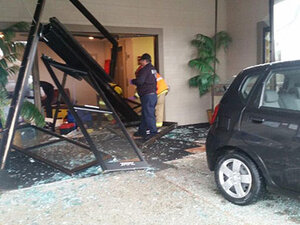 Man, 83, hit as car careens into lobby of medical building