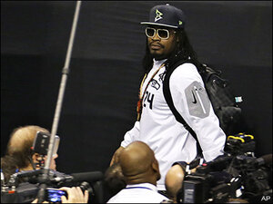Marshawn Lynch at Media Day: 'I'm here so I don't get fined'