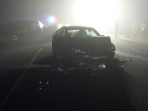1 dead, 2 hurt after cars collide head-on in fog