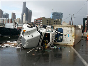 Gridlock in Seattle during 9-hour semi crash cleanup