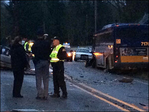 1 killed after car plows into bus in Washington state