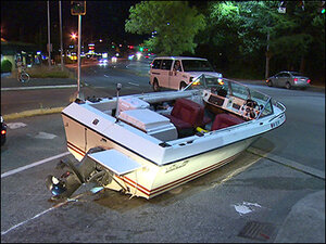 Ship ahoy! Boat stranded in middle of intersection