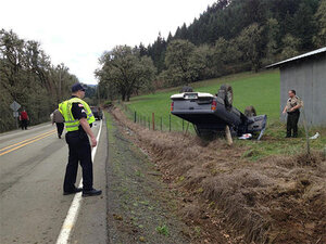 Police: Female driver injured in rollover crash