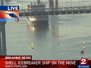 Shell ship turns around at activists suspended from St. Johns Bridge