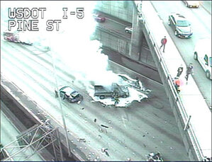 I-5 lanes reopen after 4-vehicle crash in downtown Seattle