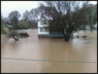 Flooded House in Drain, Oregon
