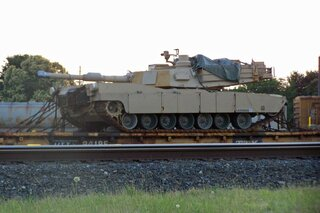Tank on a train car