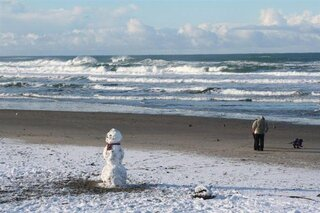 Snowman on the Beach!
