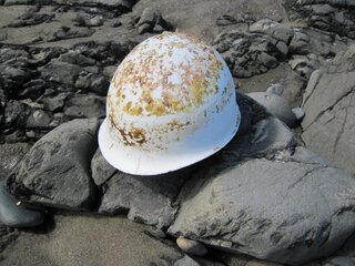 hard hat found on beach, tsunami debris?
