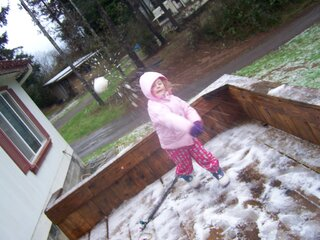 Snow ball fight- Four year old wins.