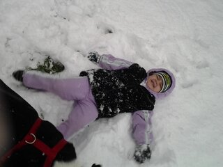 My angel making a snow angel!