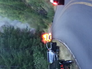 motor home caught fire
