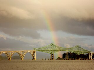 Rainbow over Conde McCullough Bridge
