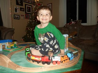 A boy and his Trains!!