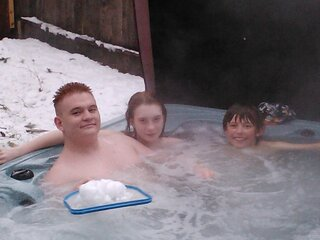 Snow + Hot Tub = Fun