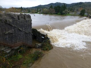 Umpqua river is running wide and high