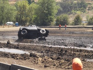 Mud and trucks flying everwhere