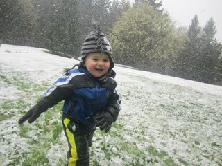Landon's 1st time play in snow