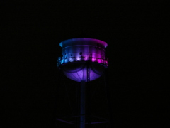 Bright purple water tower