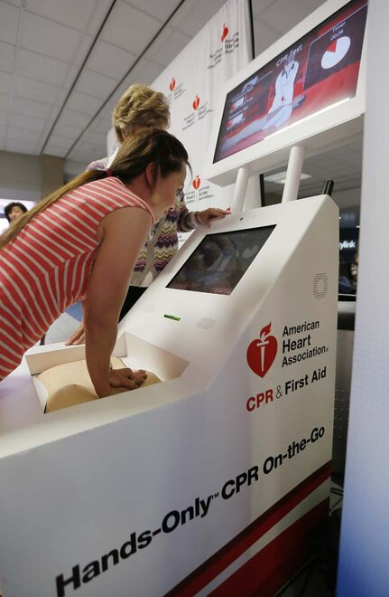 Hands-Only CPR kiosk at DFW Airport