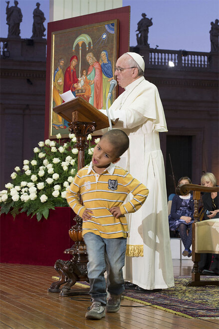 Vatican Pope Child on Stage
