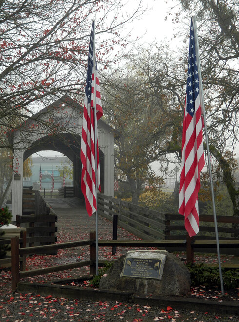 Veterans Day Flags at Eagle Point Covered Bridge - Heather Gaona