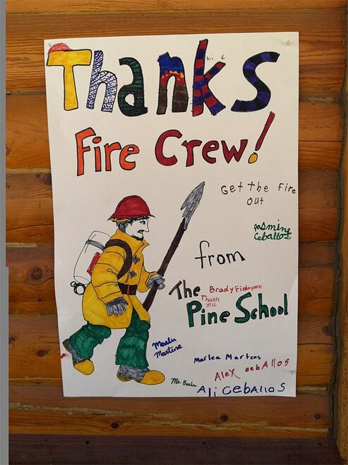 Lisa Machnik photo of a thank you sign on the Trinity Ridge fire in Idaho