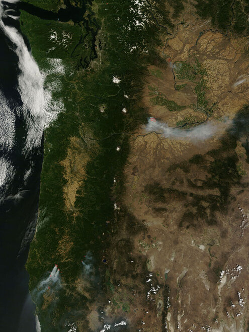 Smoke from fires in Oregon and Washington July 27, 2013