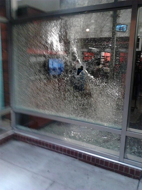 Nike store windows smashed