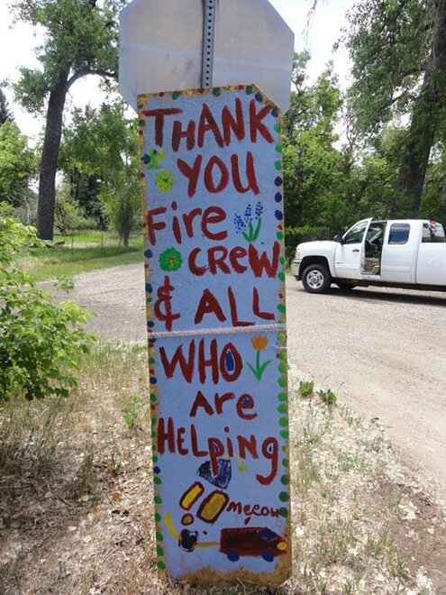 USDA Forest Service photo of thank you sign on High Park fire in Colorado