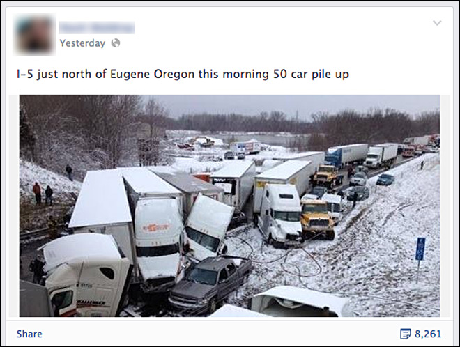 50 car pile up near Eugene? OSP says it's a hoax