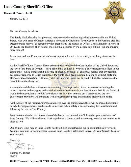 Lane County Sheriff Letter