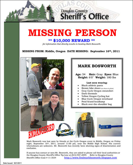 Missing Person poster for Mark Bosworth