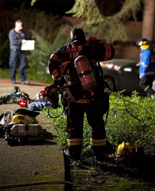 Fire crews find deceased man inside burning South Eugene home - 03 - Photo by Tristan Fortsch