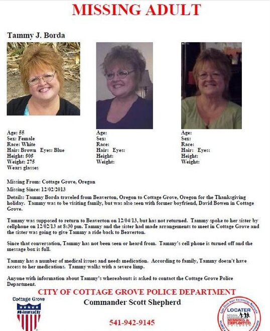Missing Person: Tammy Borda via Cottage Grove Police