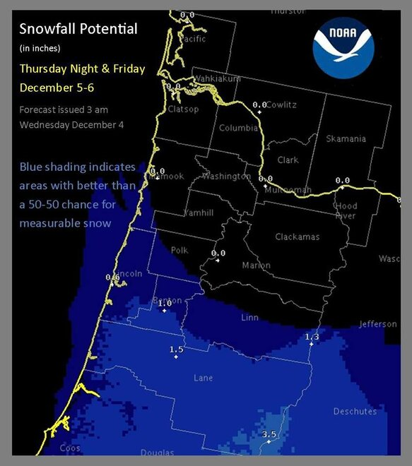 Snowfall outlook for December 5-6