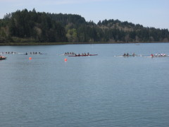 Racing crews at Dexter Lk.