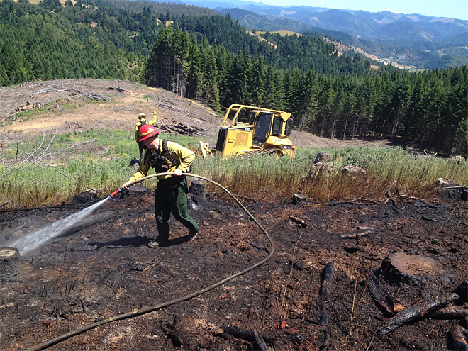 Old burn pile reignites, spreads to nearby grass