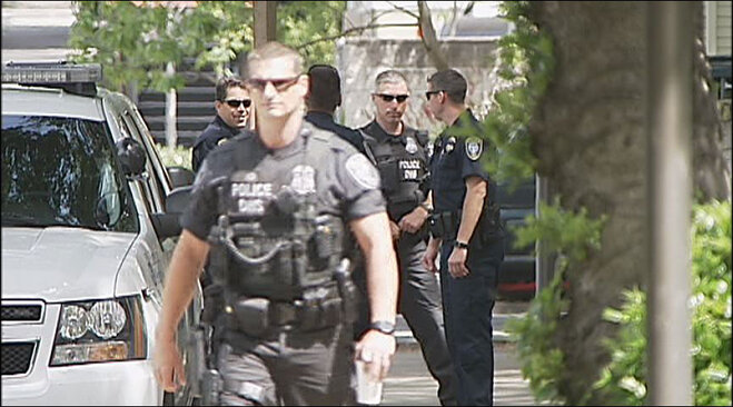 Uniformed officers at federal courthouse Thursday