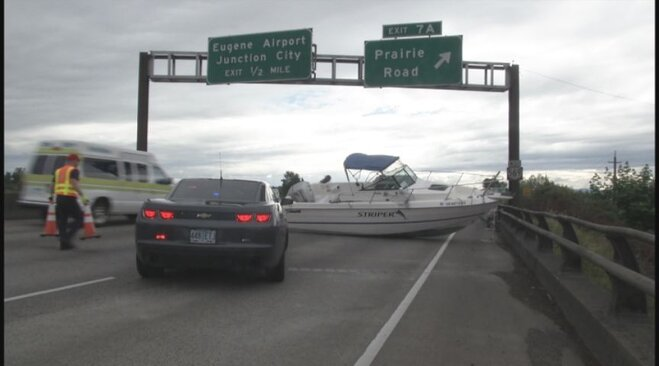 What had traffic backed up on Beltline? A boat of course