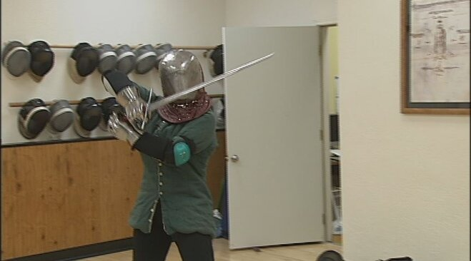 Extreme Katie tries sword fighting in Eugene (3)