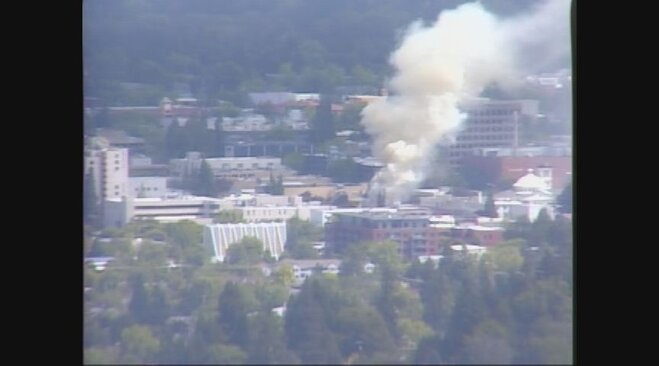 Fire in downtown Eugene on June 18