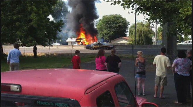 Still from KarhouseAutoFinance video of fire