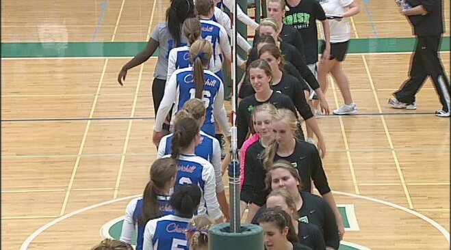 Irish lose first set, rally to beat Lancers in four