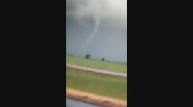 Still from funnel cloud video shot on I-5