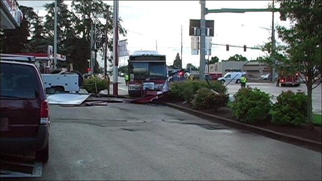 Salem Crash Sends Bus Into Gas Station Sign