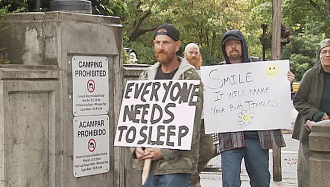 Homeless campers march on City Hall